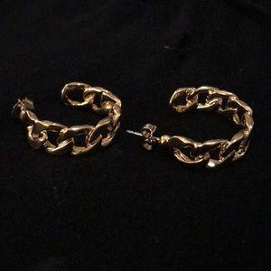 Avon Medium Square Link Open Hoop Earring